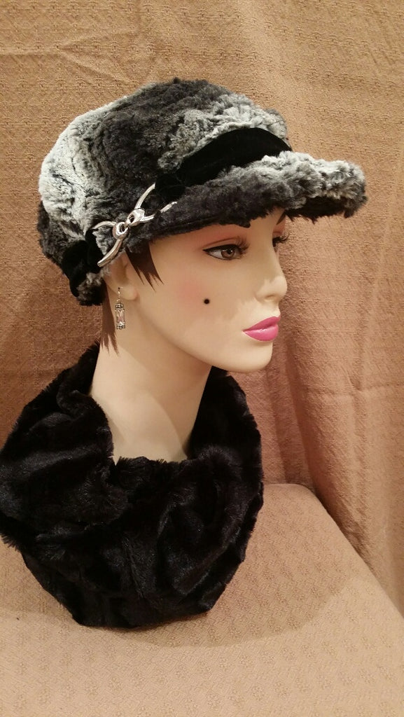 Black Chinchilla Luxury Faux Fur Valerie Hat with Buckle: Size Large