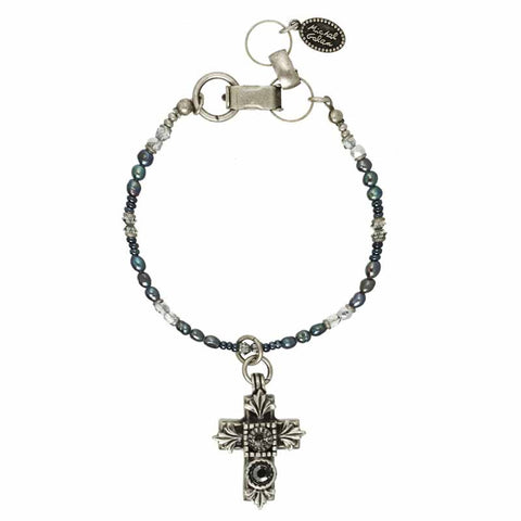 Black and Silver Small Dangle Cross Bracelet by Michal Golan