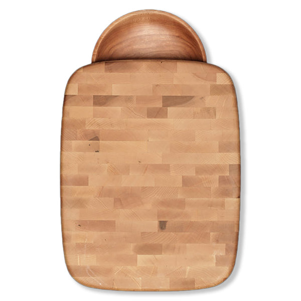 Bird's Eye Maple End Grain Chopping Block with Bowl - 12 inches x 15.5 inches