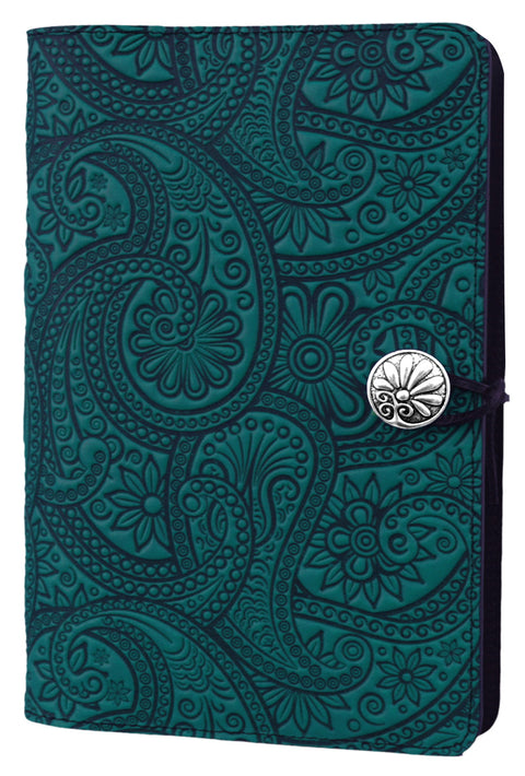 Large Leather Journal - Paisley in Teal