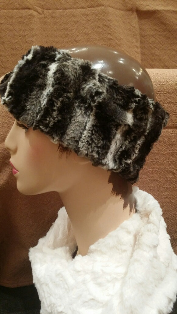 Agate in Black Luxury Faux Fur Headband