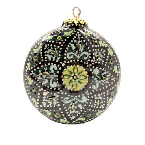 Teal Geometrical Design Small Round Ceramic Ornament