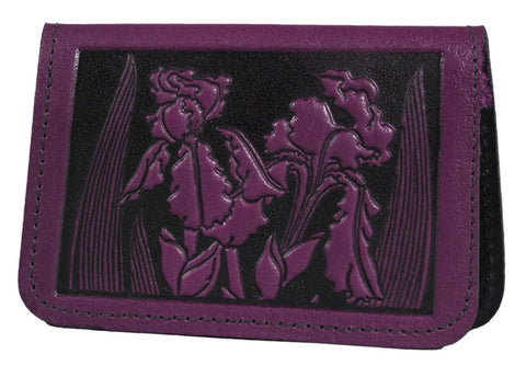 Leather Card Holder - Iris in Orchid