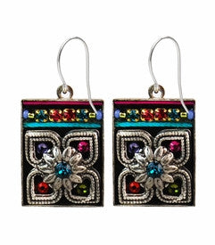 Multi Color Rectangular Floral Earrings by Firefly Jewelry