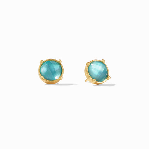 Honey Stud Earrings Gold Iridescent Bahamian Blue by Julie Vos