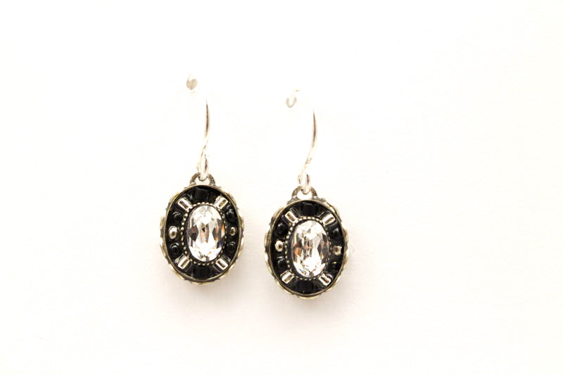 Black and White Viva Small Oval Earrings by Firefly Jewelry