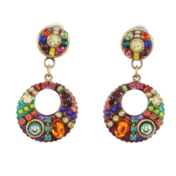 Multi Bright Two Part Design Loop Earrings by Michal Golan