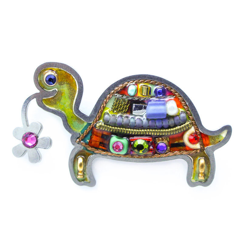 Riverstone Turtle with Flower Pin