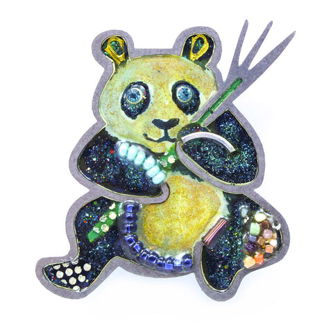 Embellished Hungry Panda Pin