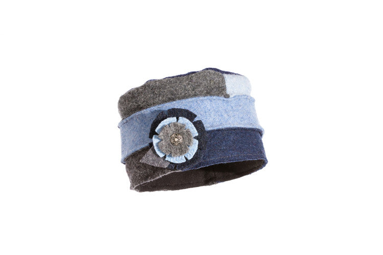Wool Cloche Hat in Denim
