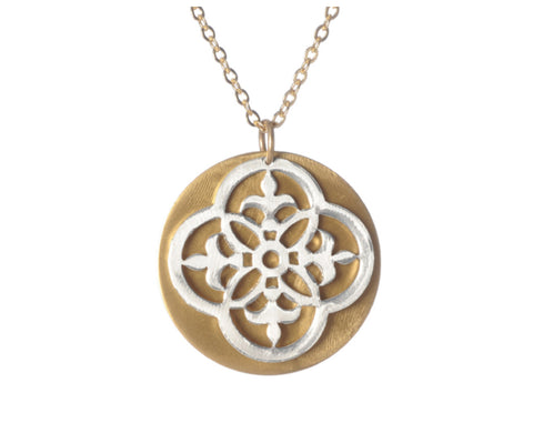 Mix Metal Open Scroll & Solid Disc Layered Pendant Necklace