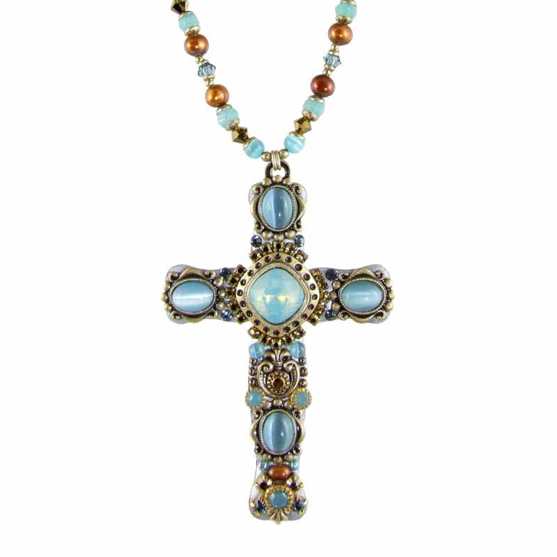 Sky Blue Large Cross Necklace by Michal Golan