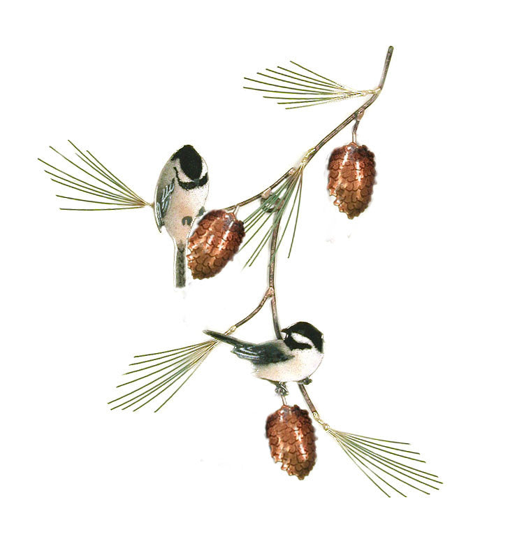 Chickadees (2) with Pine Bough Wall Art by Bovano Cheshire