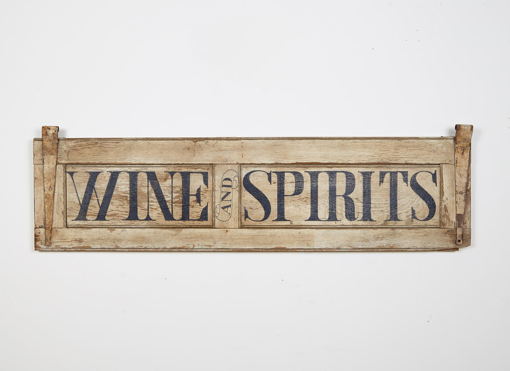 Wine and Spirits, White on Antique Shutter Americana Art