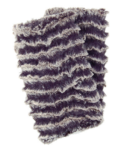 Desert Sand in Charcoal Luxury Faux Fur Fingerless Gloves