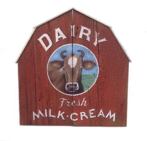 Dairy Fresh Milk with Cow, Barn Americana Art