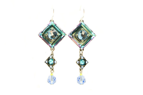 Aqua La Dolce Vita Crystal Diagonal with Dangle Earrings by Firefly Jewelry