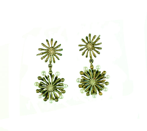 Fire Wheel Dangle Post Earrings