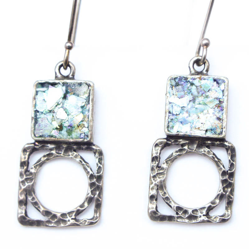 Circle out of Square Roman Glass Earrings