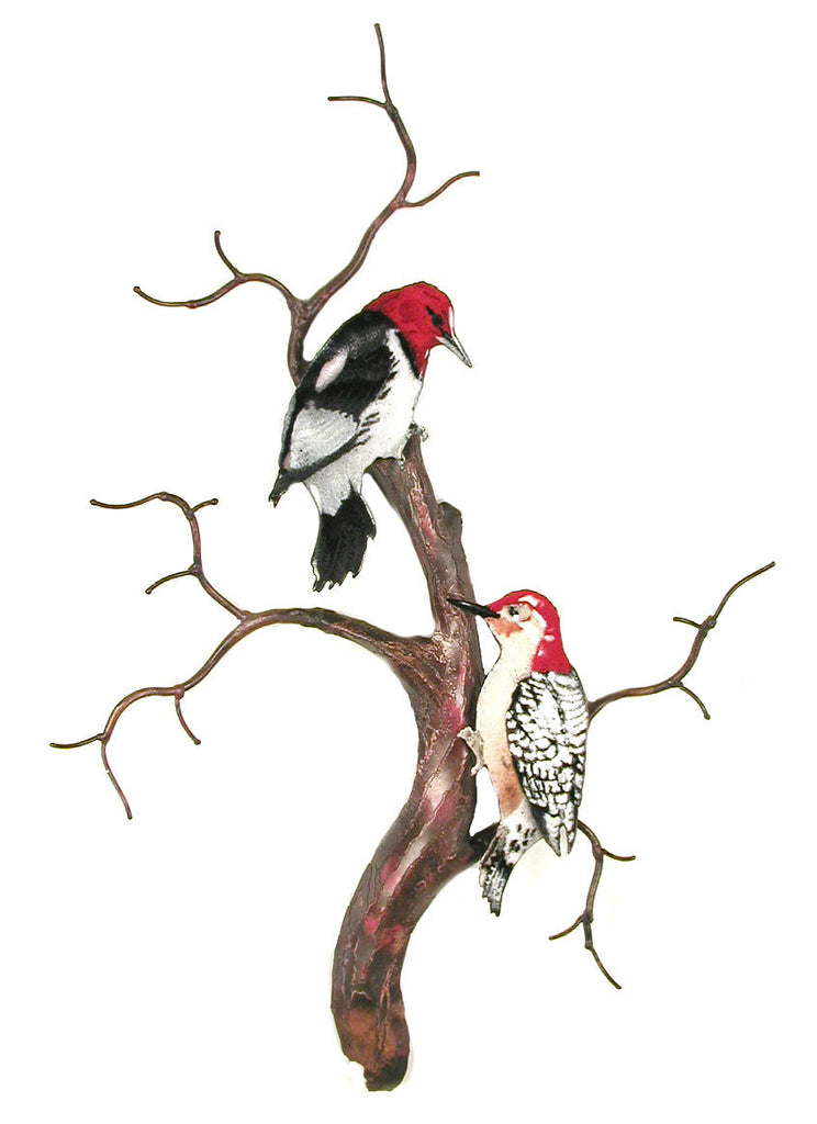 Redheaded and Redbellied Woodpeckers on Tree Trunk Wall Art by Bovano Cheshire