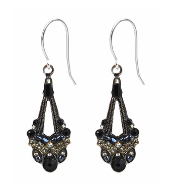 Jet Black Parisian Earrings by Firefly Jewelry