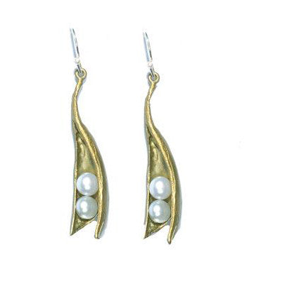 Baby Two Pearl Wire Earrings by Michael Michaud