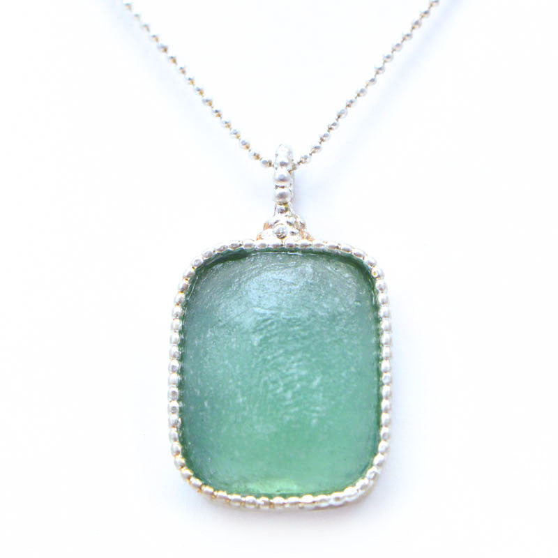 Delicate Framed Rectangular Washed Roman Glass Necklace