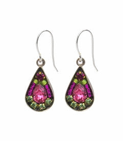 Rose Mosaic Tear Drop Earrings by Firefly Jewelry