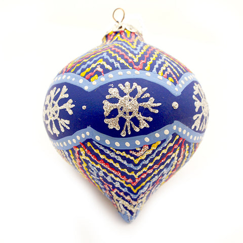 Snow Flakes Geometrical Design, Teardrop Ceramic Ornament
