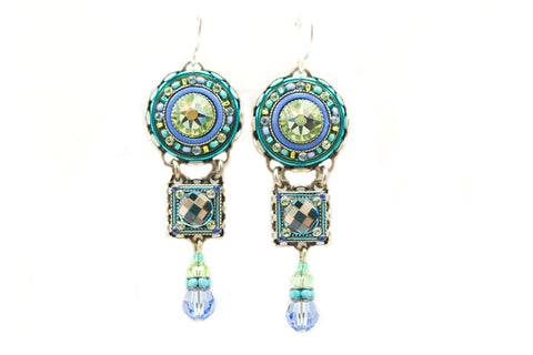 Aqua La Dolce Vita 3 Tier Earrings by Firefly Jewelry