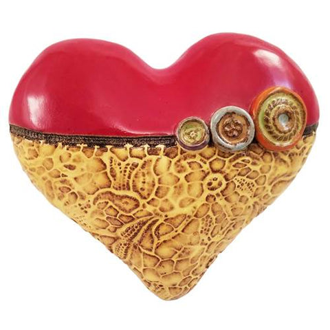 Annie's Little Fatty Heart in Yellow Ceramic Wall Art