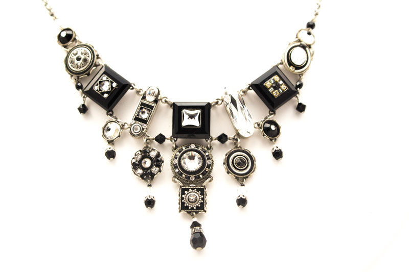 Black/White La Dolce Vita Elaborate Necklace by Firefly Jewelry