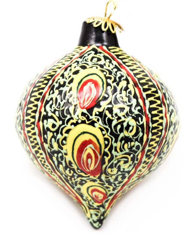 Delicate Rhythm in Green Tear Drop Ceramic Ornament