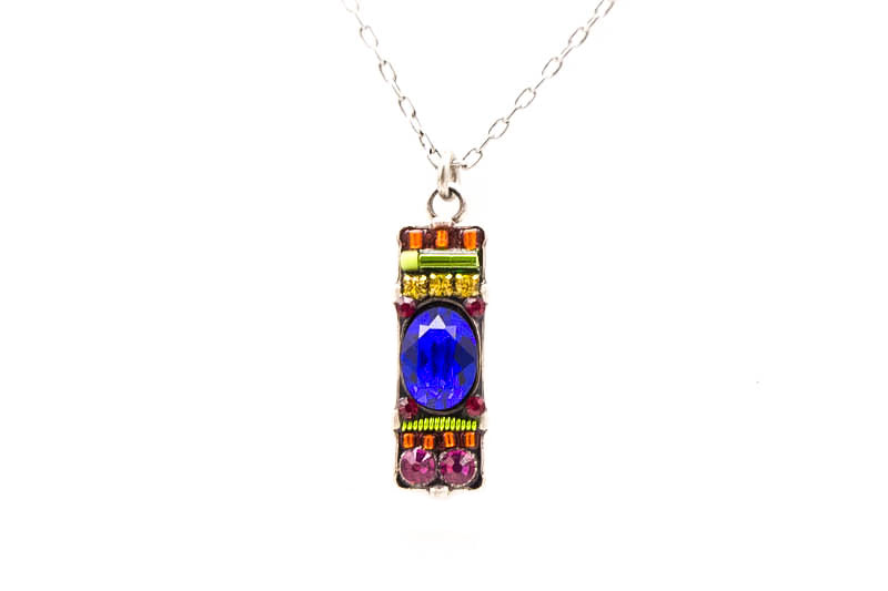 Royal Blue Bar Pendent Necklace by Firefly Jewelry