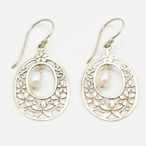 Sterling Silver Floral Design with Center Pearl Drop Earrings