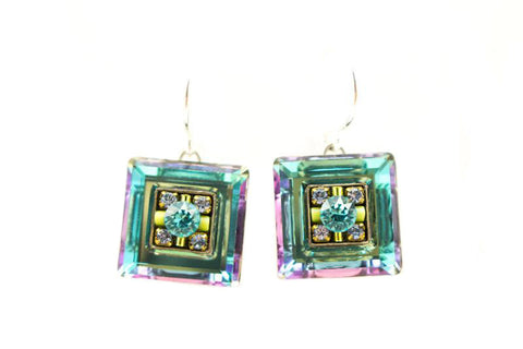Aqua La Dolce Vita Crystal Square Earrings by Firefly Jewelry