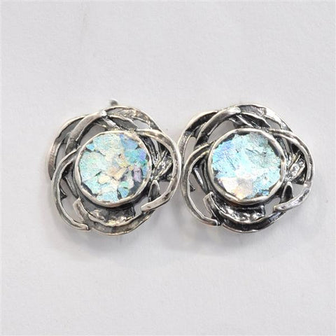 Abstract Blossom Patina Roman Glass Post Earrings