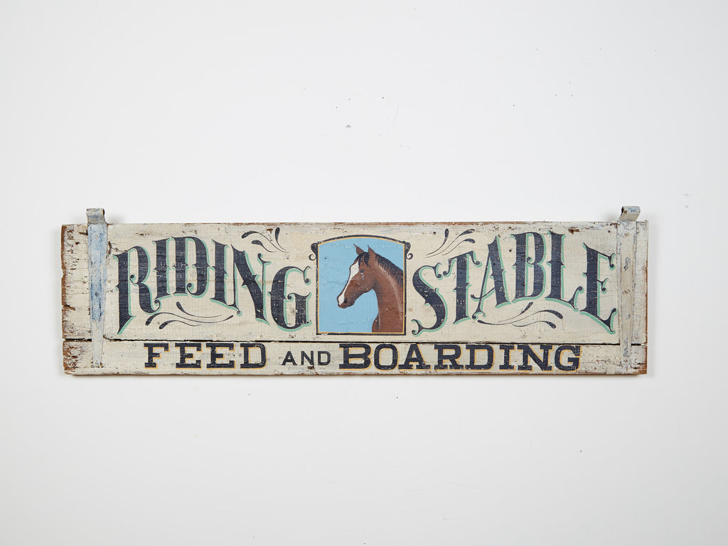 Riding Stable Feed and Boarding, Antique Shutter Americana Art