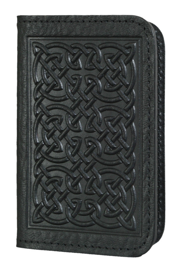 Leather Card Holder - Bold Celtiic in Black