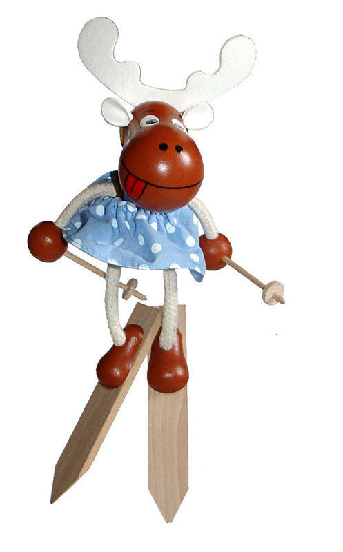Skiing Elk Girl Handcrafted Wooden Jumpie