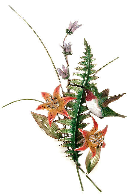 Ruby-Throat with Enameled Fern Wall Art by Bovano Cheshire – Gallery 30