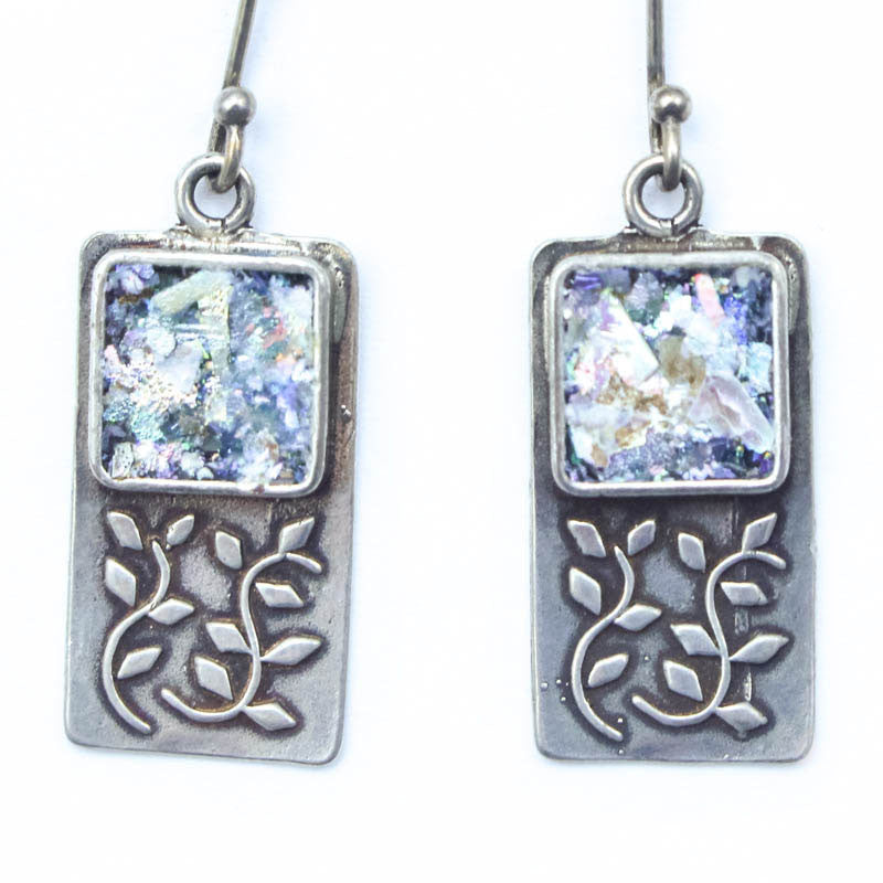 Vines with Square Roman Glass Earrings