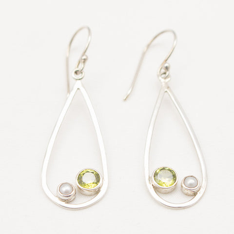 Sterling Silver Teardrop Dangle with Pearl And Faceted Peridot Earrings