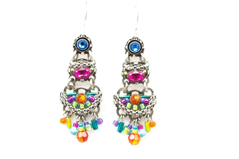 Multi Color Emma 3-Tier Earrings by Firefly Jewelry
