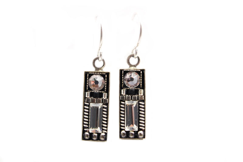 Black and White Geometric Rectangle Earrings by Firefly Jewelry