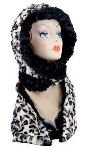 White Jaguar with Cuddly Black Luxury Faux Fur Hoody Scarf