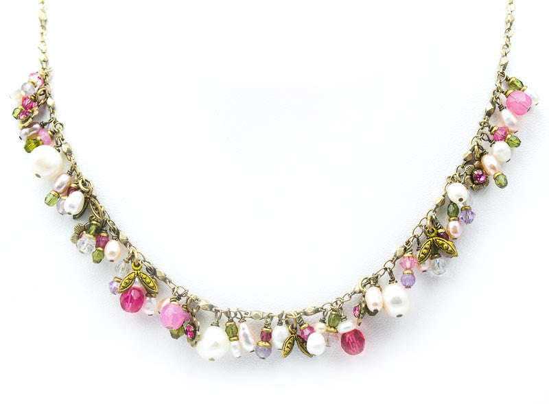 White Flower Bunched Necklace by Michal Golan