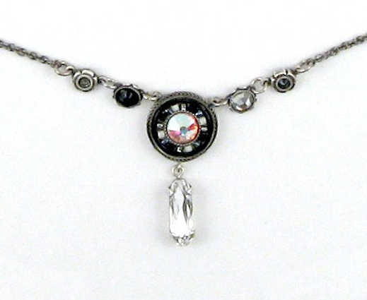 Black and White La Dolce Vita Circle with Y Drop Necklace by Firefly Jewelry