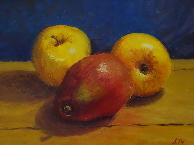 Apples & Red Pear by Simonne Roy