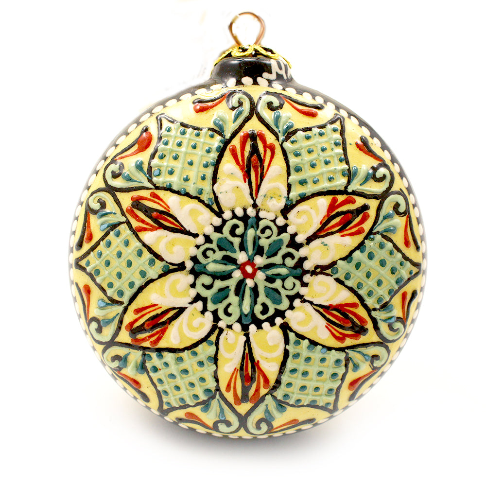 Neon Geometric Pattern On Round Small Ceramic Ornament